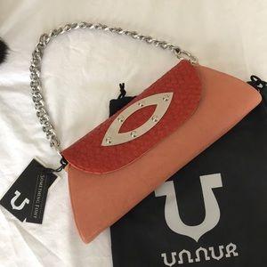 New! Unnur Rose/orange leather purse. Unique